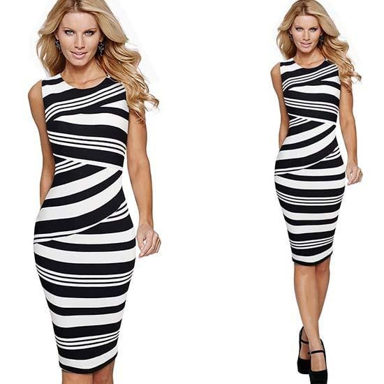 Women Elegant Striped Sleeveless Work Dress Casual O-Neck Sheath Fitted