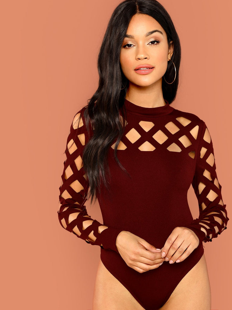 Mock Neck Geo Cut Out Bodysuit