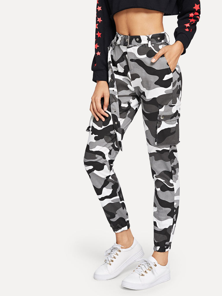 Camo Print Ring Detail Belted Pants