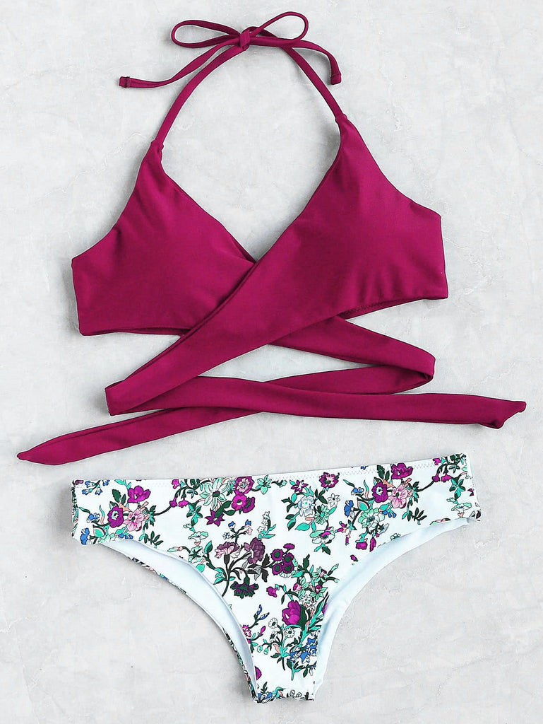 Floral Halter Wrap Knotted Back Bikini Set