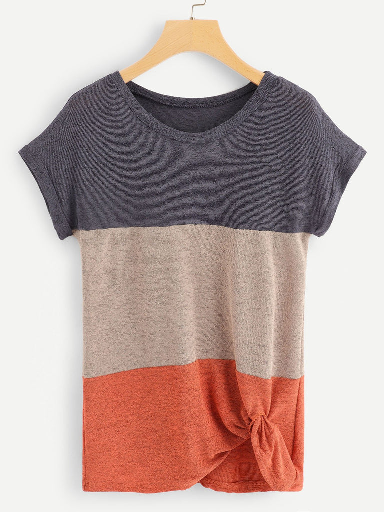 Color Block Twist Front Tee
