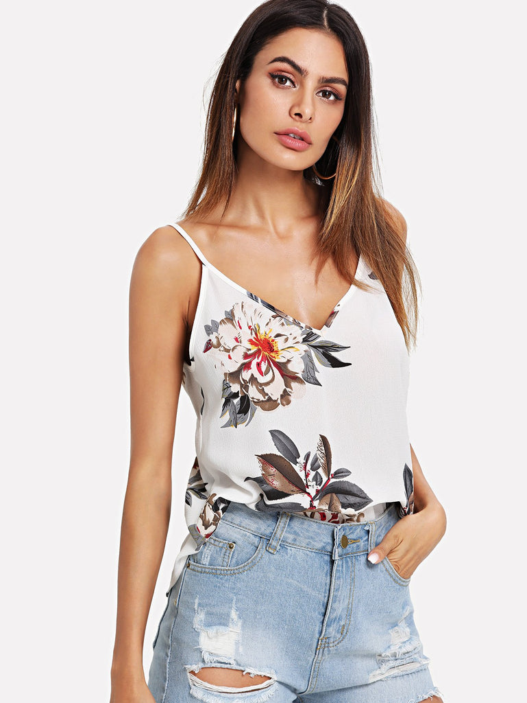 Double V-Neck Floral Cami Top
