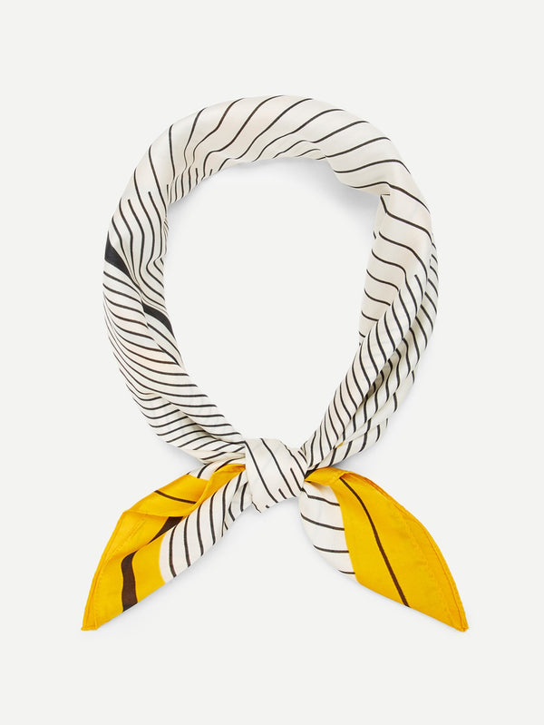 Contrast Trim Striped Print Bandana