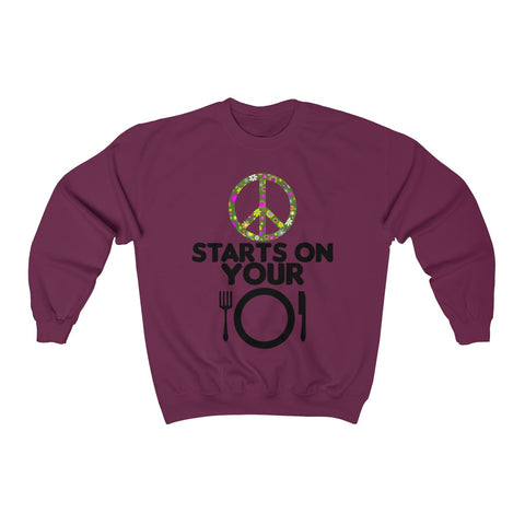 PEACE ON YOUR PLATE Unisex Sweater