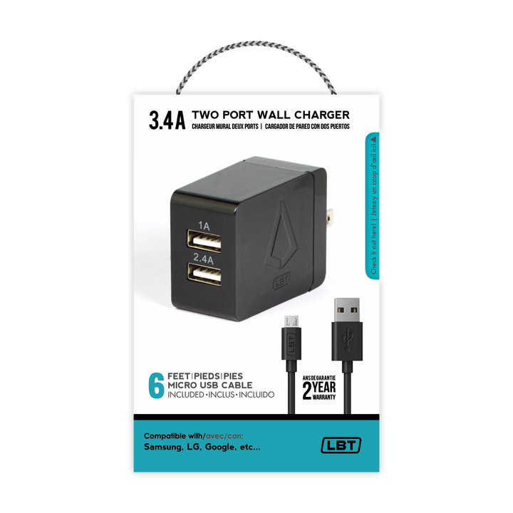Dual Port 3.4 AMP Wall Charger (2.4 AMP & 1 AMP Port) W/ 6 Feet Micro USB Cable