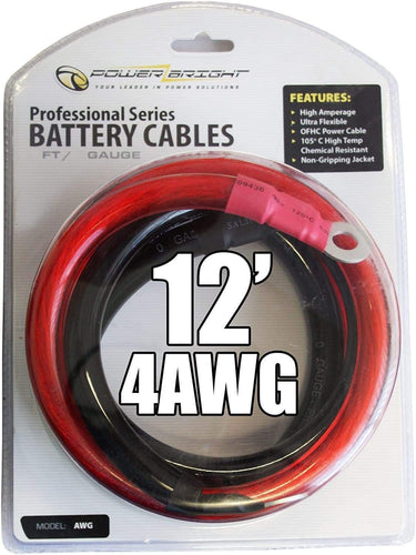 Power Bright 4-AWG12 4 AWG Gauge 12-Foot Professional Series Inverter Cables 1000-1500 watt image of actual cable.