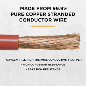 Power Bright 4 AWG 3 Foot High Amperage Copper Set of Battery Cables image of conductor wire