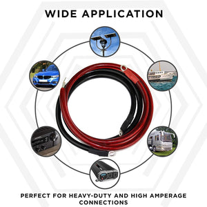 Power Bright 4 AWG 3 Foot High Amperage Copper Set of Battery Cables image of wide application