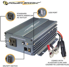 Load image into Gallery viewer, PowerBright Pure Sine Power Inverter 300 Watt True Sine Continuous 12 Volt DC to 115 Volt AC with USB Charging Port - Perfect for an Emergency, Hurricane, Storm Outage - Voltage Converters and transformers