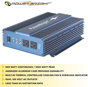 PowerBright 24 Volts Pure Sine Power Inverter 600 Watt image of anodized case built-in fan less than 3% distortion rate