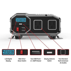 Energizer ENK1500 - 1500 Watt 12v DC to 110v AC Power Inverter image of user manual