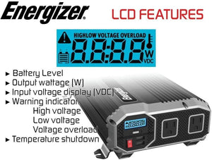 ENERGIZER 2000 Watt 12V Power Inverter image of LCD features