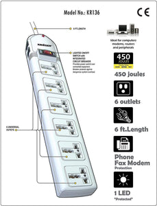 KRIEGER Universal Power Strip AC 220-240V image of features