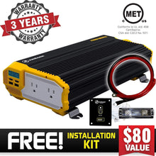 Load image into Gallery viewer, Krieger 2000 Watts Power Inverter 12V to 110V image of warranty and installation kit