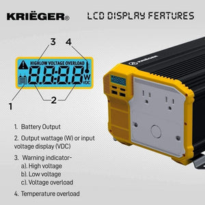 Krieger 3000 Watts Power Inverter 12V to 110V image of LCD display features