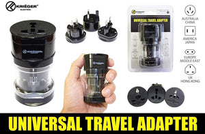 KRIGER Small Size Worldwide International Travel Plug Adapter Kit image of universal travel adapter