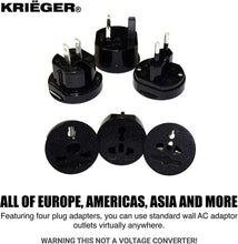Load image into Gallery viewer, KRIGER Small Size Worldwide International Travel Plug Adapter Kit  image of four plug adapters