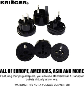 KRIGER Small Size Worldwide International Travel Plug Adapter Kit  image of four plug adapters