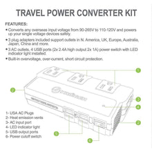 Load image into Gallery viewer, KRV200-W 200 Watt Travel Kit Converter with USB charger image of features