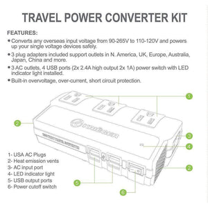 KRV200-W 200 Watt Travel Kit Converter with USB charger image of features