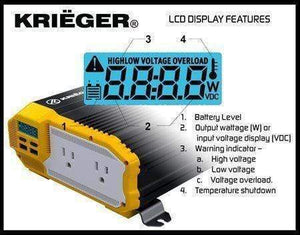 Krieger MR2000 - 2000 Watt 24v  image of LCD display features