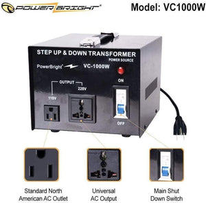 VC1000W PowerBright Step Up & Down Transformer - standard north american outlet universal ac coutput