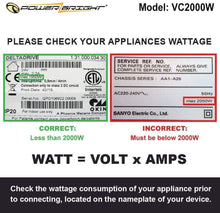 Load image into Gallery viewer, VC2000W PowerBright 2000 Watts  image of wattage