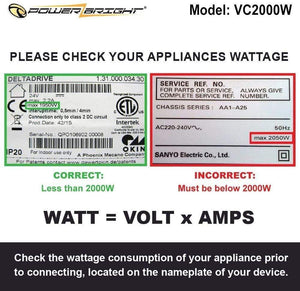 VC2000W PowerBright 2000 Watts  image of wattage