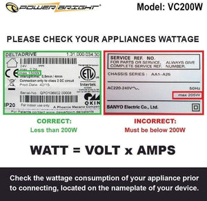 VC200W PowerBright Step Up & Down Transformer image of wattage