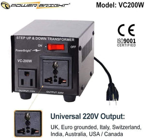 VC200W PowerBright Step Up & Down Transformer image of universal output