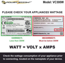 Load image into Gallery viewer, VC300W PowerBright Step Up & Down Transformer image of wattage