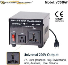 Load image into Gallery viewer, VC300W PowerBright Step Up & Down Transformer image of universal output