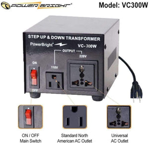 VC300W PowerBright Step Up & Down Transformer image of features