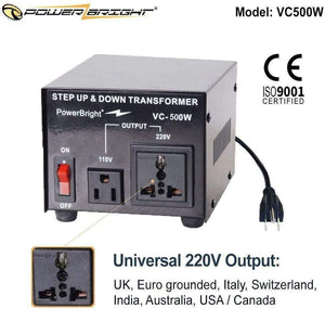 VC500W PowerBright Step Up & Down Transformer image of universal output