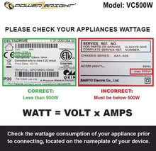 Load image into Gallery viewer, VC500W PowerBright Step Up & Down Transformer image of wattage