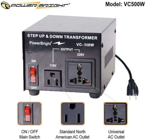 VC500W PowerBright Step Up & Down Transformer image of features