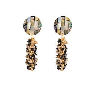 tropical evening swarovski mother of pearl dangle earrings in black and gold
