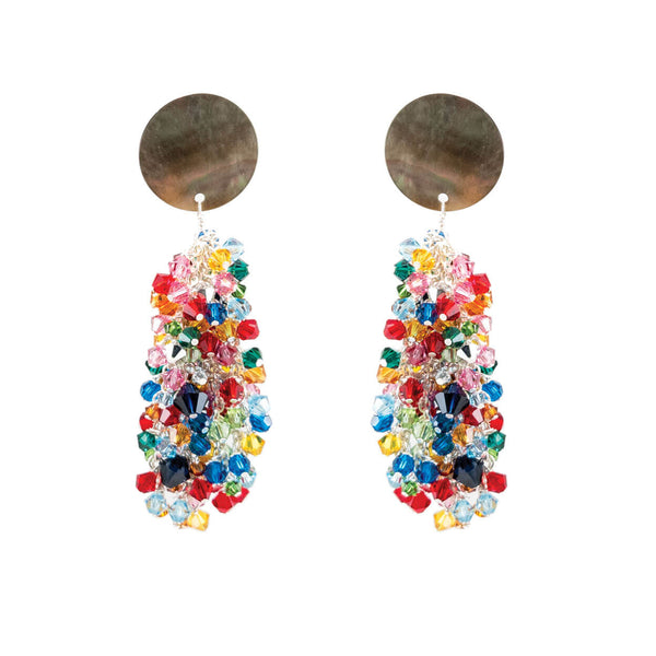 tropical rainbow crystal and mother of pearl dangle earrings