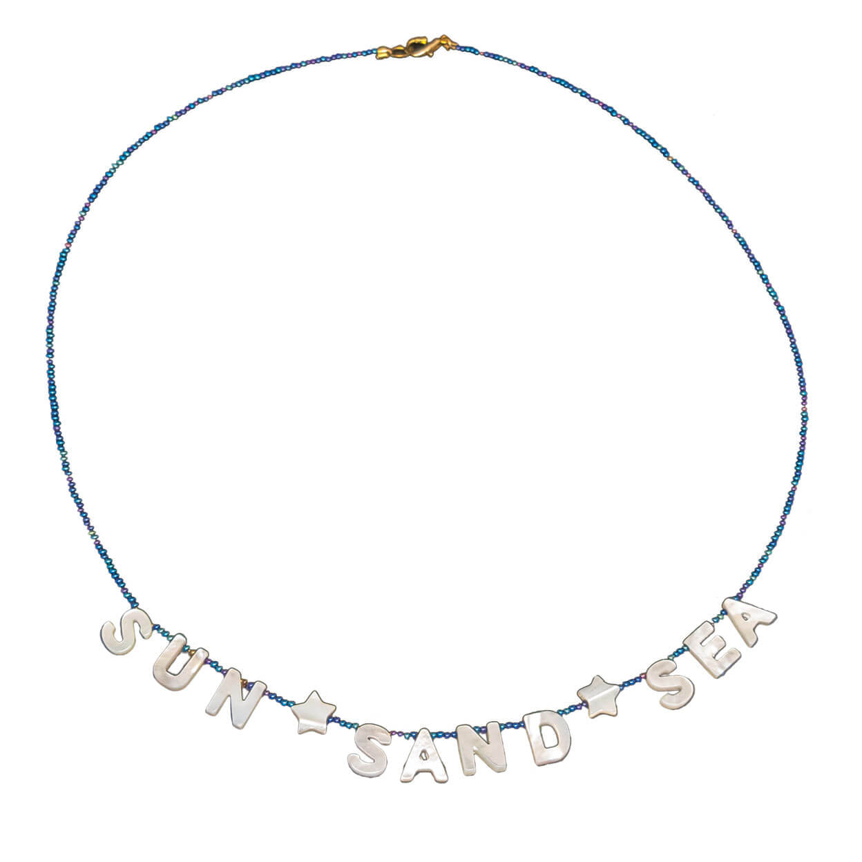 "beach style necklace that reads ""sun sand sea"" in mother of pearl and seed beads"