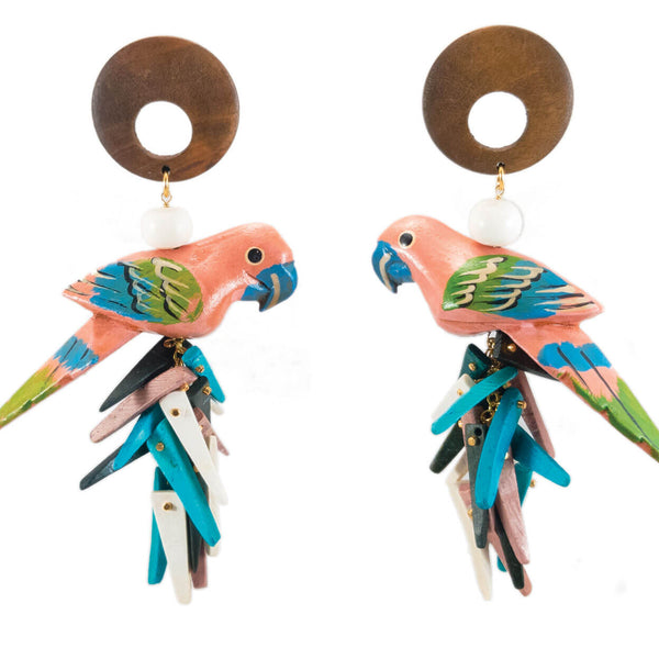 tropical style peach parrot earings with java wood tops and turquoise, black and peach coco stick charms