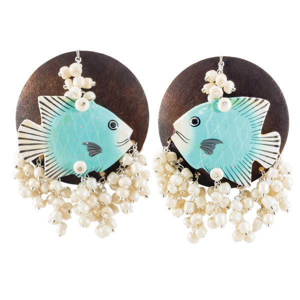 tropical vintage light blue fish earrings with two tone wood circles and ivory bone beads.