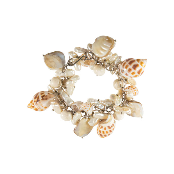 beach style sea shell charm bracelet on silver chain