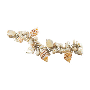 tropical style silver bracelet with shell and bone charms