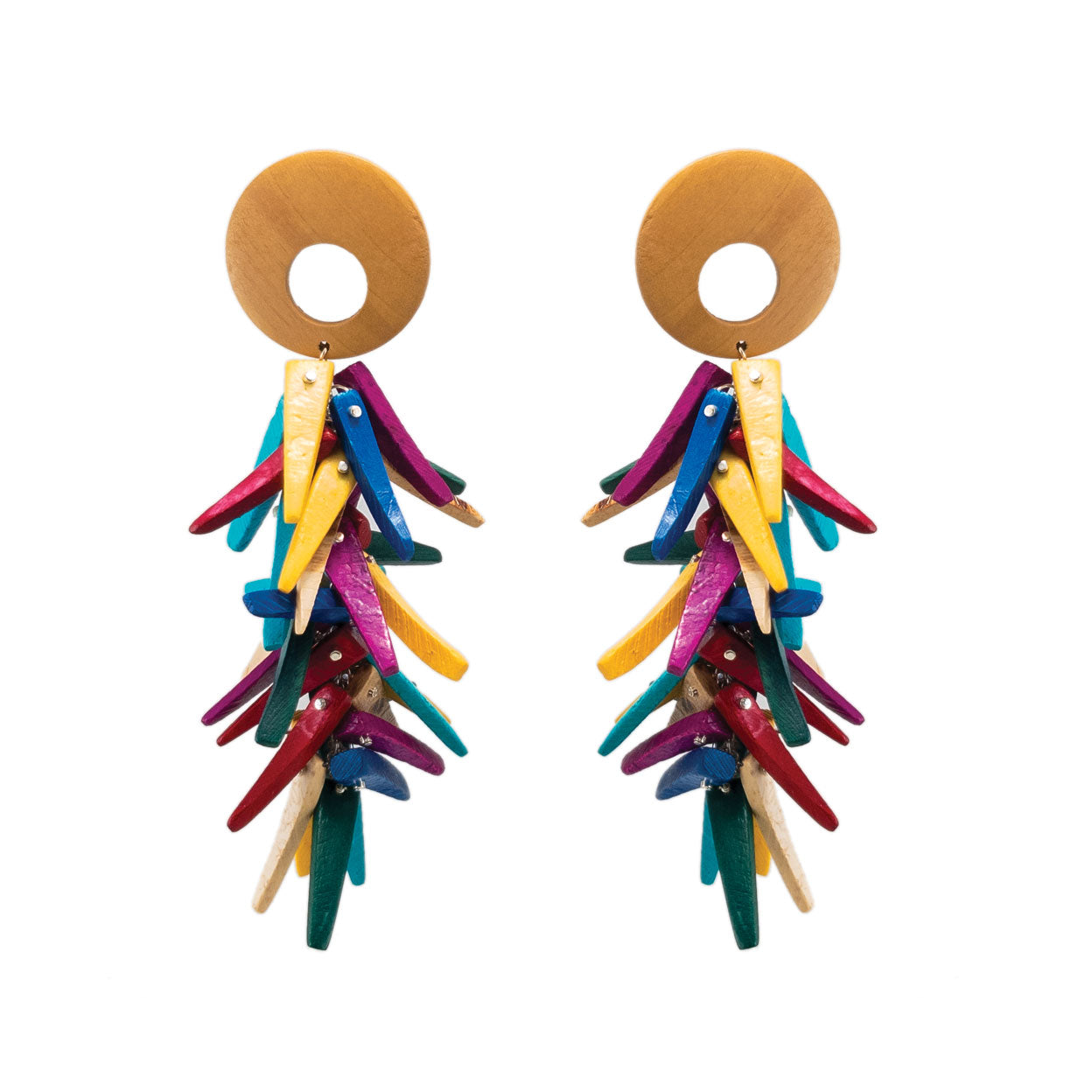 Tropical rainbow coco stick dangle earrings with wood