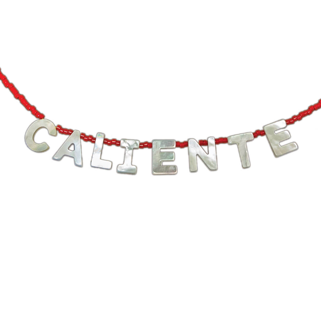 "beach style tropical necklace that reads ""caliente"" in mother of pearl and seed beads"