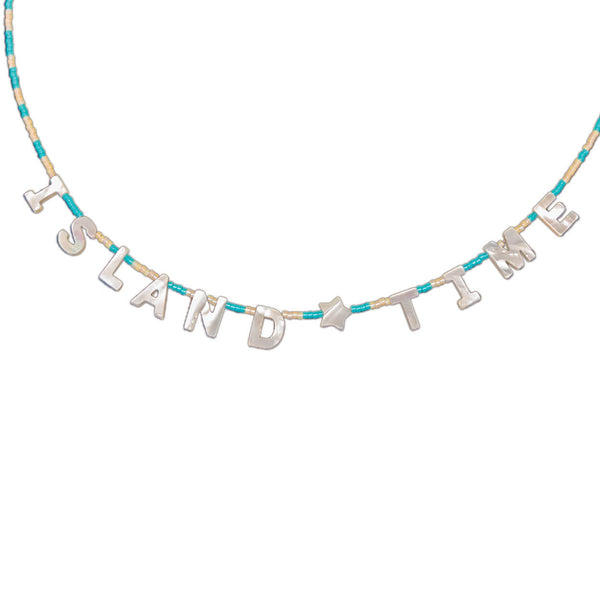 "Tropical style beach necklace that says ""island time"" in mother of pearl and seed beads"