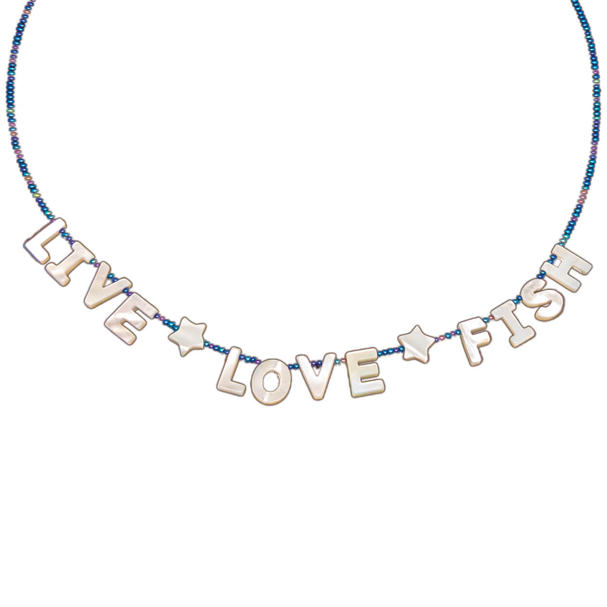 "beach style tropical necklace mother of pearl letters that reads ""live love fish"" on a seed bead strand"