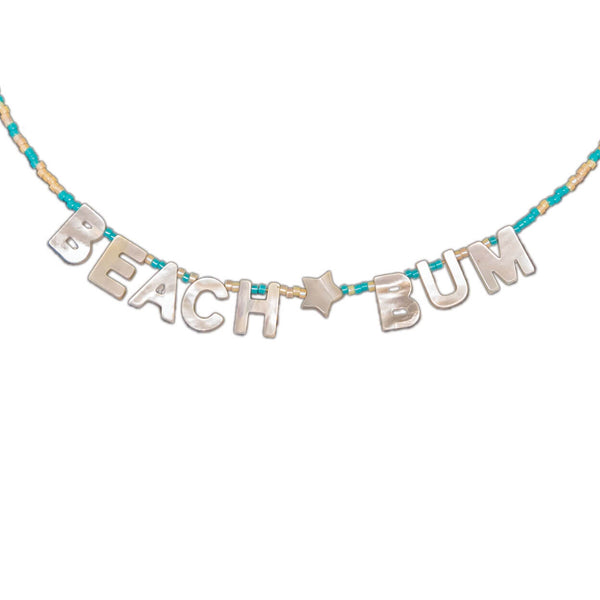 "tropical mother of pearl letter necklace that reads ""beach bum"" on a seed bead strand"