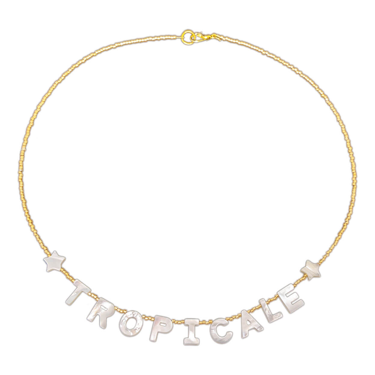 "tropical style necklace with mother of pearl letters that reads ""tropicale"" with seed bead strand"