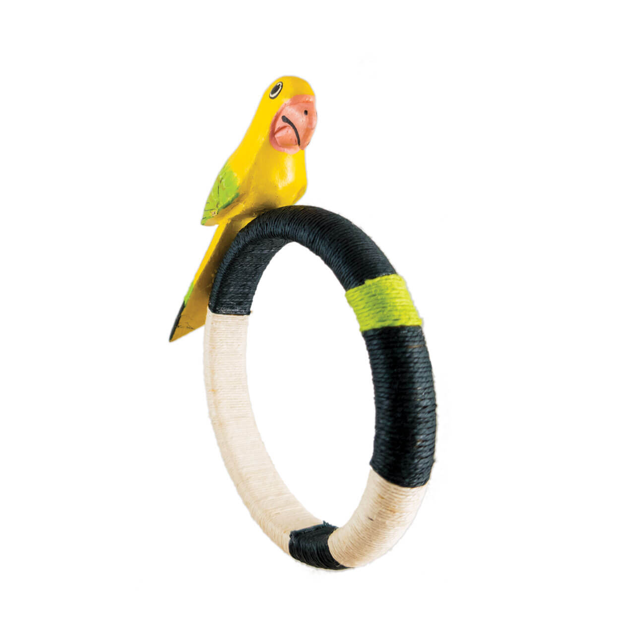 front view of tropical style yellow parrot bracelet wrapped in black, ivory, lime hemp